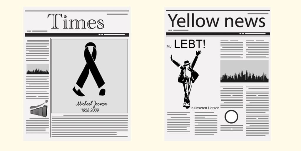 In dem ersten Bild wird gesagt, dass Micheal Jackson gestorben ist. In dem zweiten Bild wird das Gegenteil behauptet und in der Ecke ist in Kleinbuchstaben geschrieben, dass er nur in den Herzen der Menschen lebt. Die Absicht des zweiten Titels ist nur um den Verkauf dieser Zeitung zu steigern.